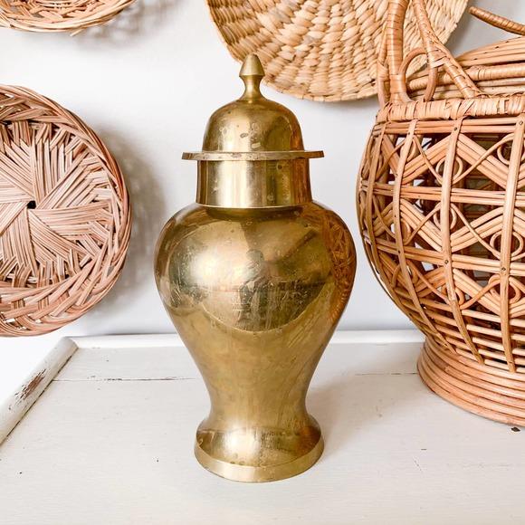 Vintage Boho Gold Brass Urn with Lid